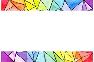 Geometric rainbow frame colorful abstract background with triangles. Abstract summer picture.