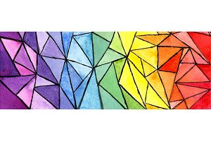 Geometric rainbow colorful abstract background with triangles. Abstract summer picture.