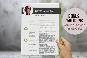 2 in 1 olive green photo Word resume
