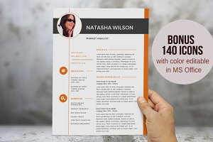 2 in 1 orange photo Word resume