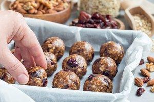 Healthy homemade energy balls, horizontal