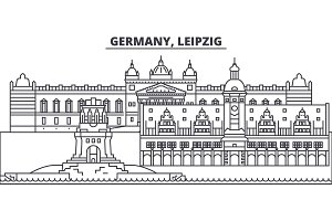 Germany, Leipzig line skyline vector illustration. Germany, Leipzig linear cityscape with famous landmarks, city sights, vector landscape.