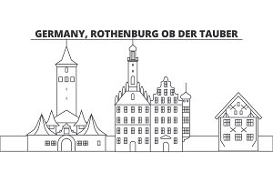 Germany, Rothenburg Ob Der Tauber line skyline vector illustration. Germany, Rothenburg Ob Der Tauber linear cityscape with famous landmarks, city sights, vector landscape.