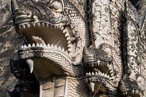 Naga Serpents Sculptures in Thailand
