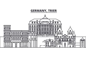 Germany, Trier line skyline vector illustration. Germany, Trier linear cityscape with famous landmarks, city sights, vector landscape.