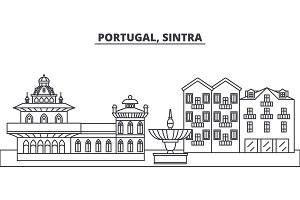 Portugal, Sintra line skyline vector illustration. Portugal, Sintra linear cityscape with famous landmarks, city sights, vector landscape.