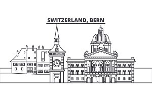 Switzerland, Bern line skyline vector illustration. Switzerland, Bern linear cityscape with famous landmarks, city sights, vector landscape.