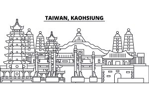Taiwan, Kaohsiung line skyline vector illustration. Taiwan, Kaohsiung linear cityscape with famous landmarks, city sights, vector landscape.