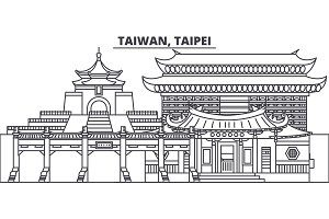 Taiwan, Taipei line skyline vector illustration. Taiwan, Taipei linear cityscape with famous landmarks, city sights, vector landscape.