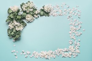 Floral frame made of white flowers
