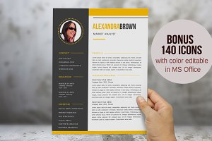Yellow 2 in 1 photo resume