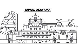 Japan, Okayama line skyline vector illustration. Japan, Okayama linear cityscape with famous landmarks, city sights, vector landscape.