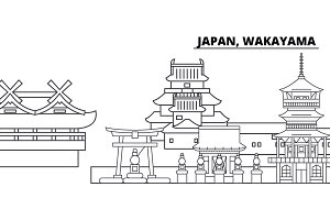 Japan, Wakayama line skyline vector illustration. Japan, Wakayama linear cityscape with famous landmarks, city sights, vector landscape.