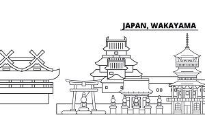 Japan, Wakayama line skyline vector illustration. Japan, Wakayama linear cityscape with famous landmarks, city sights, vector landscape.
