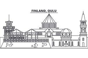 Finland, Oulu line skyline vector illustration. Finland, Oulu linear cityscape with famous landmarks, city sights, vector landscape.
