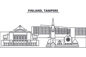 Finland, Tampere line skyline vector illustration. Finland, Tampere linear cityscape with famous landmarks, city sights, vector landscape.