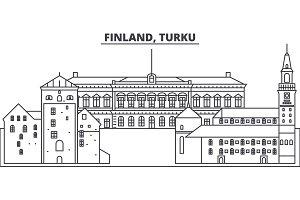 Finland, Turku line skyline vector illustration. Finland, Turku linear cityscape with famous landmarks, city sights, vector landscape.