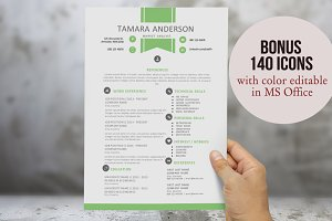 Green ribbon resume for Word