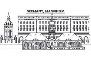 Germany, Mannheim line skyline vector illustration. Germany, Mannheim linear cityscape with famous landmarks, city sights, vector landscape.