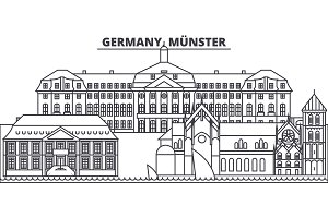 Germany, Munster line skyline vector illustration. Germany, Munster linear cityscape with famous landmarks, city sights, vector landscape.