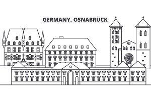 Germany, Osnabruck line skyline vector illustration. Germany, Osnabruck linear cityscape with famous landmarks, city sights, vector landscape.