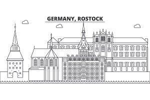 Germany, Rostock line skyline vector illustration. Germany, Rostock linear cityscape with famous landmarks, city sights, vector landscape.