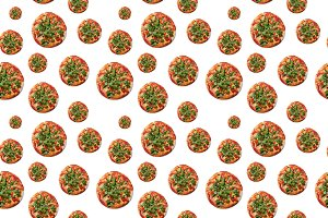 Seamless pattern of Vegetarian pizza