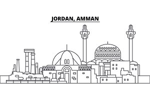 Jordan, Amman line skyline vector illustration. Jordan, Amman linear cityscape with famous landmarks, city sights, vector landscape.