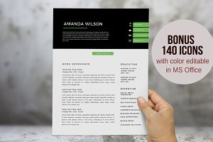 Green 2 in 1 Word resume template