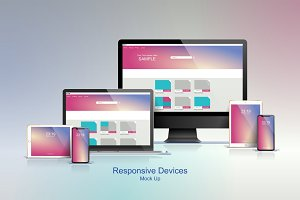 Set of multiple devices mock ups