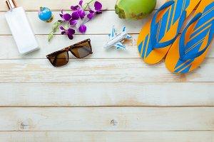 Top view fashion travel summer.