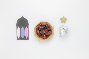 Top view Ramadan Kareem background.