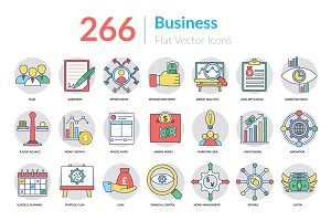 266 Flat Business Icons
