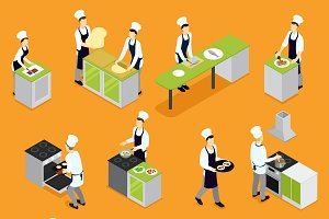 Isometric People Cooking Set