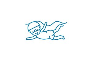 Kids diving linear icon concept. Kids diving line vector sign, symbol, illustration.