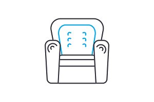 Leather chair linear icon concept. Leather chair line vector sign, symbol, illustration.