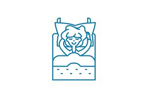 Lying in linear icon concept. Lying in line vector sign, symbol, illustration.