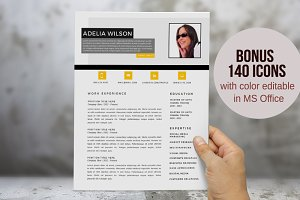 Yellow photo 2 in 1 Word resume
