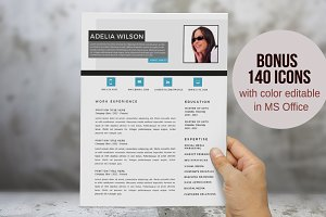 Aqua photo 2 in 1 Word resume