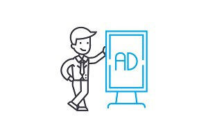 Marketing manager linear icon concept. Marketing manager line vector sign, symbol, illustration.