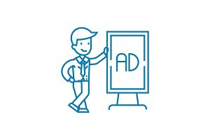 Marketing specialist linear icon concept. Marketing specialist line vector sign, symbol, illustration.