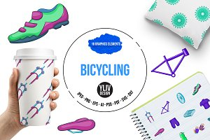Bicycling icons set in cartoon style