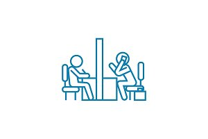 Meeting room linear icon concept. Meeting room line vector sign, symbol, illustration.