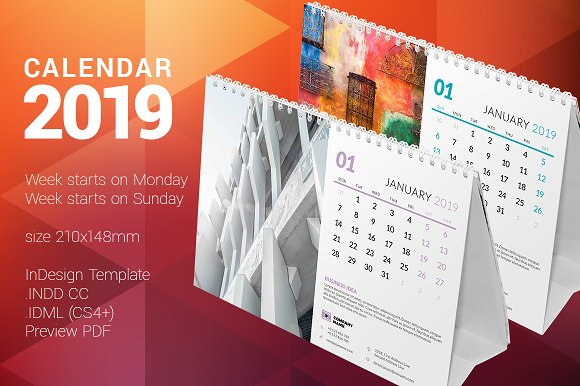 Desk Calendar 2019 Stationery Templates Creative Market