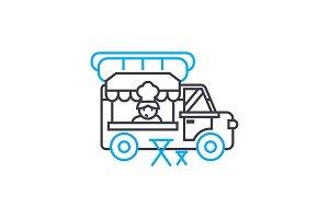 Mobile fast food linear icon concept. Mobile fast food line vector sign, symbol, illustration.