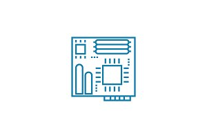 Motherboard linear icon concept. Motherboard line vector sign, symbol, illustration.