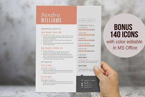 DIY 2 in 1 Word modern resume pack