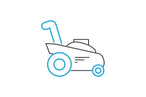 Mowing grass linear icon concept. Mowing grass line vector sign, symbol, illustration.