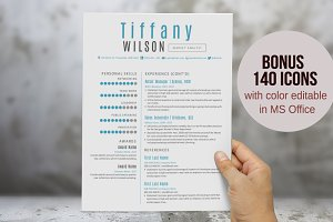 Aqua 2 in 1 Word resume pack