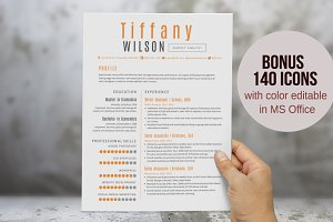 Orange 2 in 1 Word resume pack
